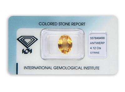citrín 4.12ct orangy yellow s IGI certifikátem