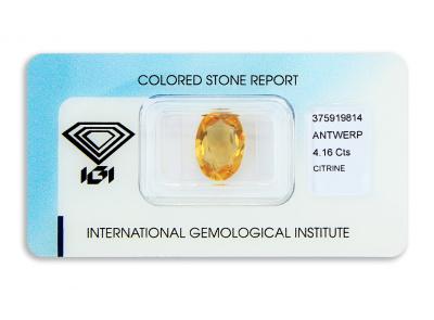 citrín 4.16ct orange-yellow s IGI certifikátem