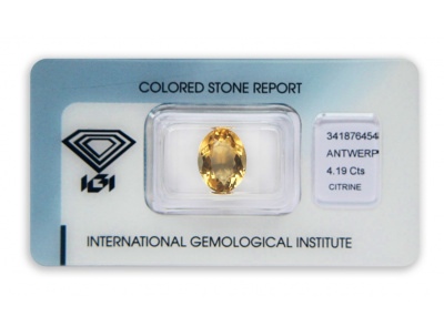 citrín 4.19ct brownish yellow s IGI certifikátem