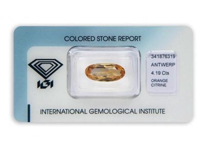 citrín 4.19ct yellowish orange s IGI certifikátem