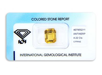 citrín 4.22ct orangy yellow s IGI certifikátem