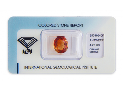 citrín 4.27ct brownish yellowish orange s IGI certifikátem