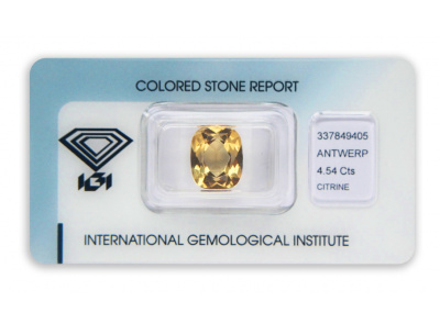 citrín 4.54ct orangy yellow s IGI certifikátem