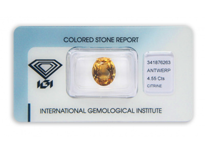 citrín 4.55ct brownish-orangy yellow s IGI certifikátem