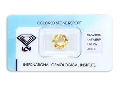 citrín 4.66ct orangy yellow s IGI certifikátem