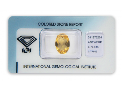 citrín 4.74ct orangy yellow s IGI certifikátem