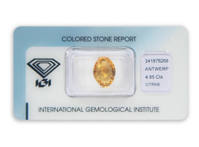 citrín 4.85ct yellow-orange	 s IGI certifikátem