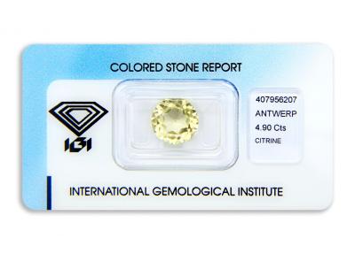 citrín 4.90ct greenish yellow s IGI certifikátem
