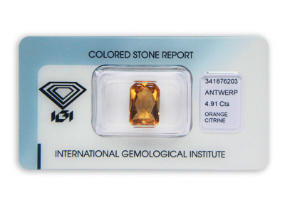 citrín 4.91ct yellowish orange s IGI certifikátem