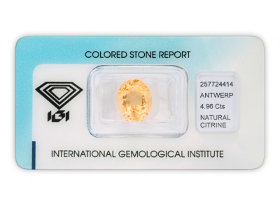 citrín 4.96ct yellowish orange s IGI certifikátem