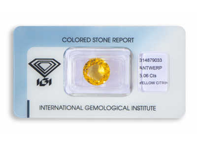 citrín 5.06ct brownish yellow s IGI certifikátem