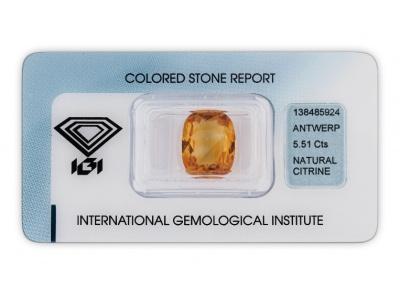 citrín 5.51ct yellow orange s IGI certifikátem
