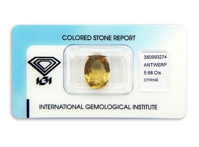 citrín 5.68ct orangy yellow s IGI certifikátem
