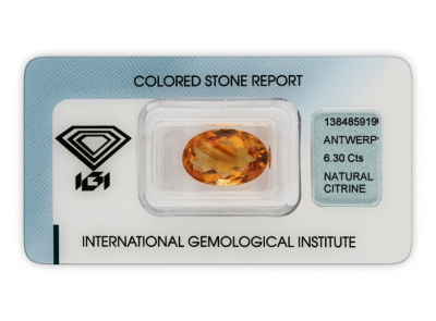 citrín 6.30ct yellowish orange s IGI certifikátem