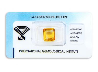 citrín 6.31ct yellowish orange s IGI certifikátem