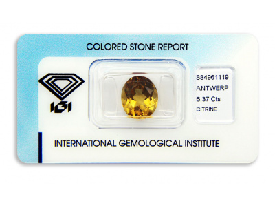 citrín 6.37ct yellow-orange s IGI certifikátem