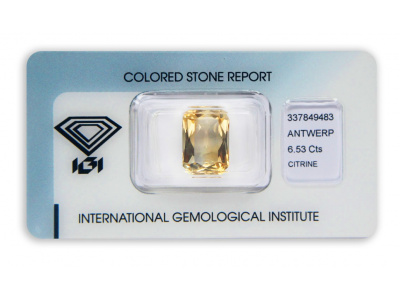 citrín 6.53ct yellowish orange s IGI certifikátem