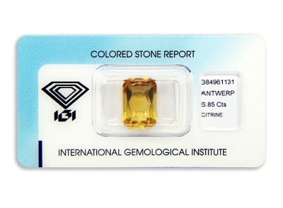citrín 6.85ct yellow s IGI certifikátem