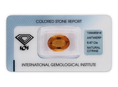 citrín 6.87ct orange s IGI certifikátem