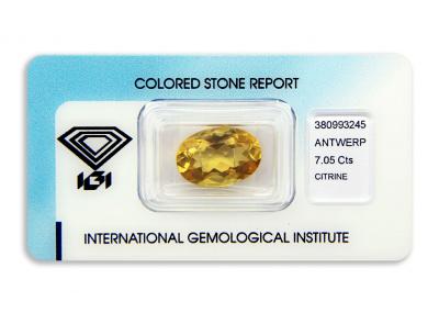 citrín 7.05ct orange-yellow s IGI certifikátem