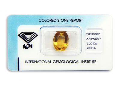 citrín 7.20ct yellowish orange s IGI certifikátem