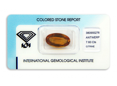 citrín 7.60ct yellowish orange s IGI certifikátem