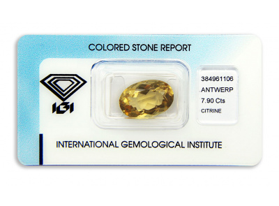 citrín 7.90ct yellowish orange s IGI certifikátem