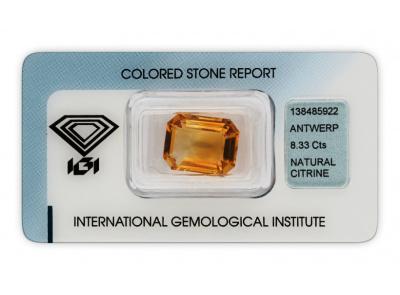 citrín 8.33ct yellowish orange s IGI certifikátem