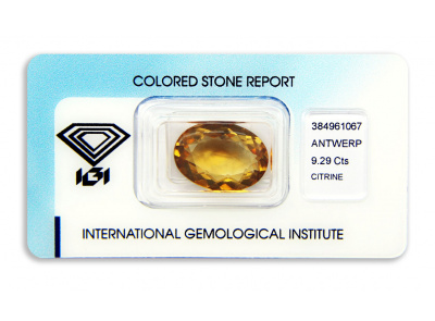 citrín 9.29ct yellowish orange s IGI certifikátem