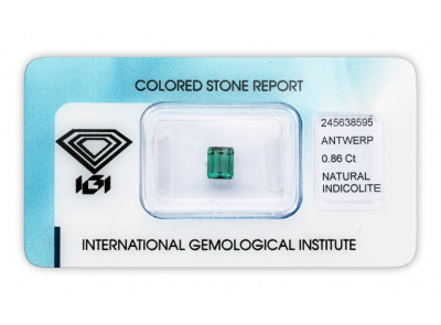 indigolit 0.86ct greenish blue s IGI certifikátem