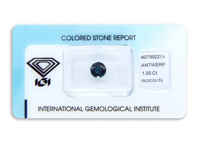 indigolit 1.00ct greenish blue s IGI certifikátem