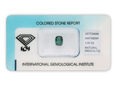 indigolit 1.01ct greenish blue s IGI certifikátem