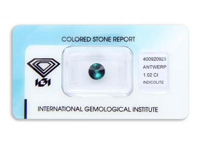 indigolit 1.02ct greenish blue s IGI certifikátem