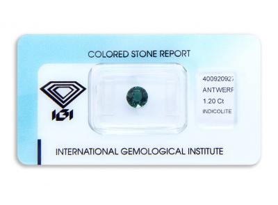 indigolit 1.20ct green-blue s IGI certifikátem