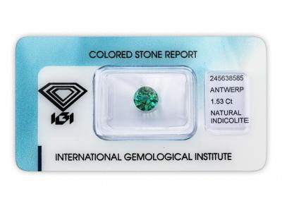 indigolit 1.53ct green-blue s IGI certifikátem