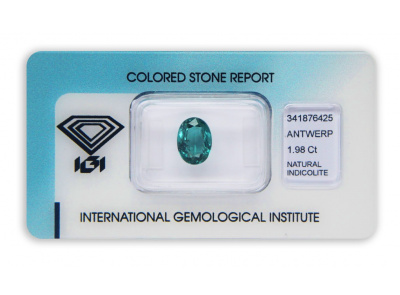 indigolit 1.98ct greenish blue s IGI certifikátem