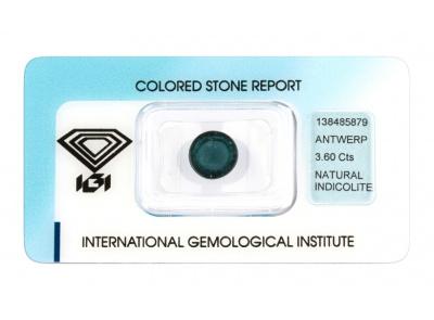 indigolit 3.60ct greyish blue s IGI certifikátem