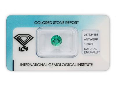 Investiční smaragd 1.60ct bluish green s IGI certifikátem