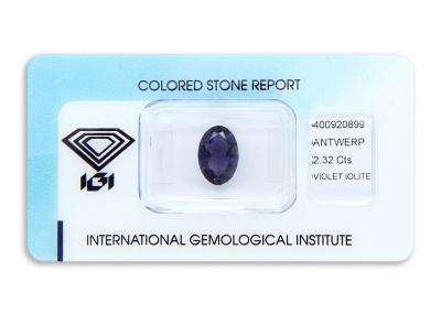 iolit 2.32ct violet s IGI certifikátem
