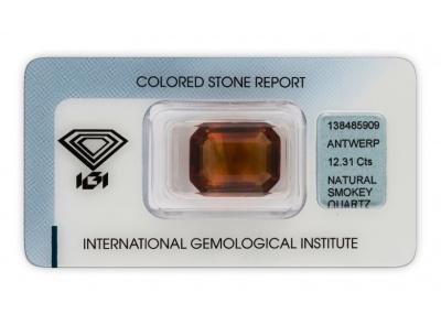 kouřový křemen 12.31ct orangy brown s IGI certifikátem