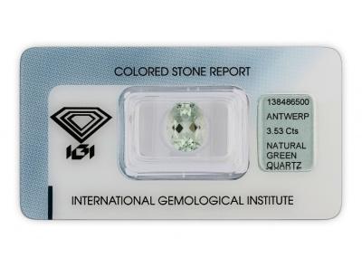 kouřový křemen 3.53ct light green s IGI certifikátem
