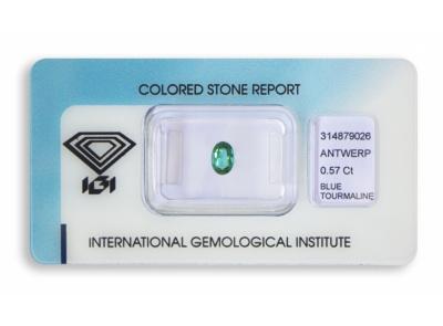 modrý turmalín 0.57ct green-blue s IGI certifikátem