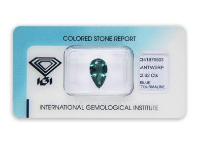 modrý turmalín 2.62ct greenish blue s IGI certifikátem