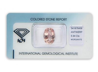 morganit 5.94ct orangy pink s IGI certifikátem