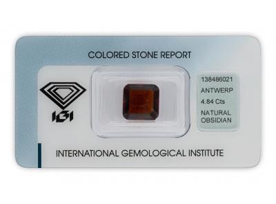 obsidián 4.84ct deep reddish brown s IGI certifikátem