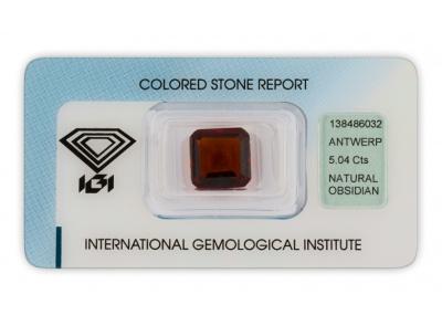 obsidián 5.04ct dark reddish brown s IGI certifikátem