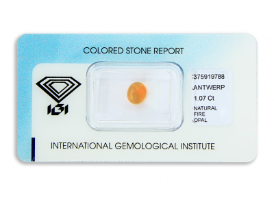 ohnivý opál 1.07ct orange s IGI certifikátem