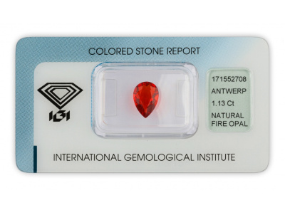 ohnivý opál 1.13ct orange - red s IGI certifikátem