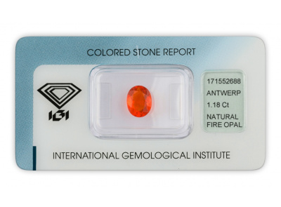 ohnivý opál 1.18ct orange s IGI certifikátem