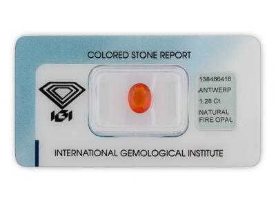 ohnivý opál 1.28ct orange s IGI certifikátem